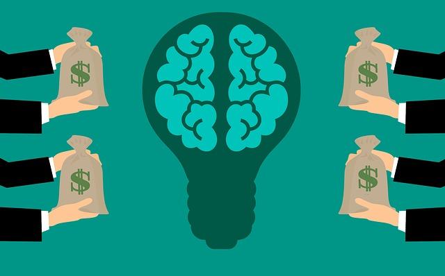 een lamp met hersenen en geld als uitbeelding voor een Crowdfunding actie