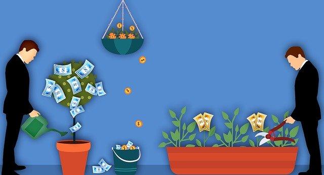 Peaks rendement  geïllustreerd als een man die de planten water geeft en waar dan geld aan groeit